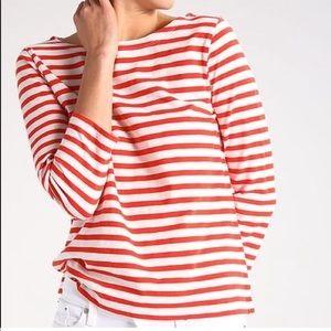 J. Crew 100% Cotton Red/Cream Boatneck Tee Size XS